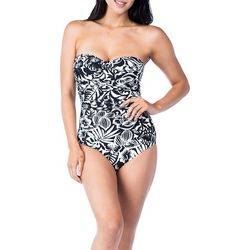 Chaps Womens Floral Bandeau One Piece Swimsuit