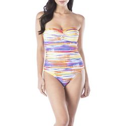 Chaps Womens Tie Dye Stripe Print Bandeau One Piece Swimsuit