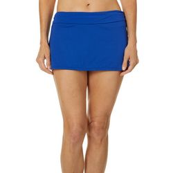 Chaps Womens Solid Elastic Waist Swim Skirt