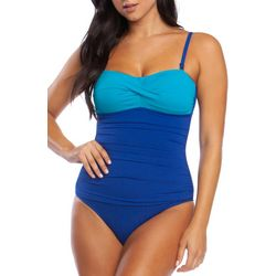 Chaps Womens Colorblock Mio Bandeau One Piece Swimsuit