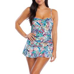 Chaps Womens Paisley Print Mio Bandeau One Piece Swimsuit