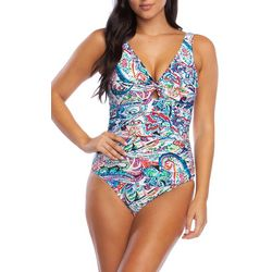 Chaps Womens Paisley Shirred One Piece Swimsuit