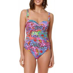 Bleu Rod Beattie Womens Here Comes The Sun Shirred Swimsuit