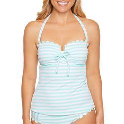 Aqua Couture Womens Scallop Edge Stripe Print Tankini Top