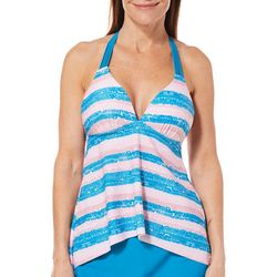 Aqua Couture Womens Stripe Print Strappy X-Back Tankini Top