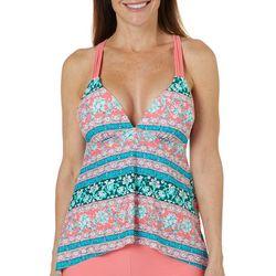 Aqua Couture Womens Bali Garden Strappy X-Back Tankini Top