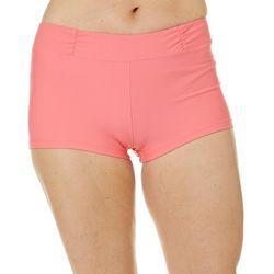 Aqua Couture Womens Solid High Waist Swim Shorts