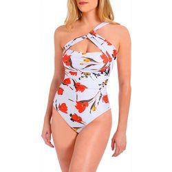 Rachel Roy Womens Bold Blooms One-Shoulder Swimsuit