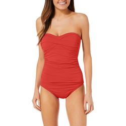 Anne Cole Womens Solid Bandeau One Piece Swimsuit