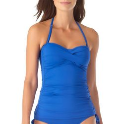 Anne Cole Signature Womens Ruched Bandeau One Piece Swimsuit