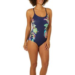 Anne Cole Signature Womens Paisley Pom One Piece Swimsuit
