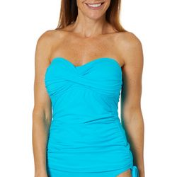 Anne Cole Signature Womens Solid Twist Tankini Top