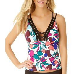 Cole of California Womens Cali Floral Lace Up Tankini Top