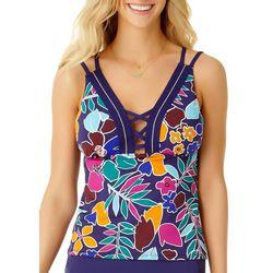 8423739788116 Cole of California Womens Cali Floral Leaf Lace Tankini Top