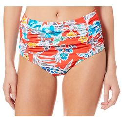 Beach Diva Womens Bold Bloom Floral High Waist Swim Bottoms