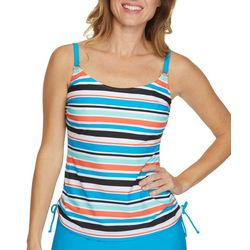 Beach Diva Womens Striped Side Tie Tankini Top