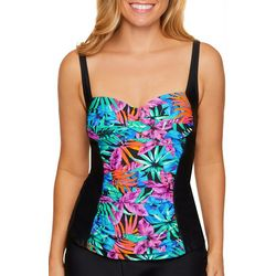 Beach Diva Womens Fanned Fauna Shirred Tankini Top