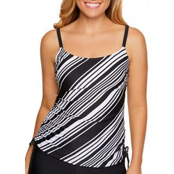 Beach Diva Womens To Go Boldly Diagonal Stripe Tankini Top