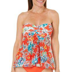 Beach Diva Womens Floral Mesh Bandeau Tankini Top