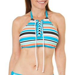 Beach Diva Womens Striped High Neck Lace Up Swim Top