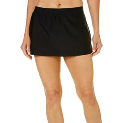 Beach Diva Womens Solid Elastic Waist Swim Skirt