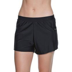 Beach Diva Womens Solid Side Zip Pocket Swim Shorts
