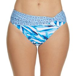 Beach Diva Womens Painted Palms Print Swim Bottoms