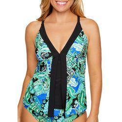 Beach Diva Womens Luxe Life Paisley Print Tankini Top