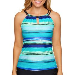 Beach Diva Womens High Voltage Stripe Tankini Top