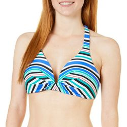 Beach Diva Womens Stripe Print Halter Bikini Top