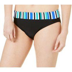 Beach Diva Womens Striped Waist Band Swim Bottoms