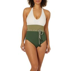 Vince Camuto Womens Bold Stripe One Piece Swimsuit
