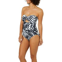 c361ff4ff1c2c Carmen Marc Valvo Womens Tropical Bandeau One Piece Swimsuit