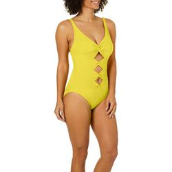Carmen Marc Valvo Womens Solid Twist One Piece Swimsuit