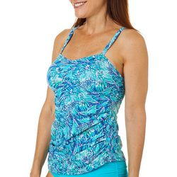 Reel Legends Womens Colorful Abstract Print Tankini Top