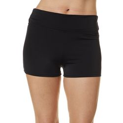 Reel Legends Womens Solid Elastic Banded Waist Swim Shorts