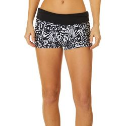 Reel Legends Womens Print Elastic Banded Waist Swim Shorts