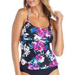 Island Waves Womens Watercolor Floral Strappy Tankini Top