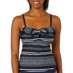 Island Waves Womens Stripe Ruffle Tankini Top