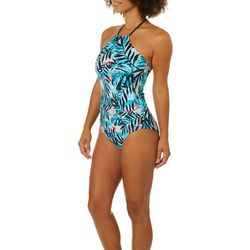 Reel Legends Womens Party Palm High Neck One Piece Swimsuit
