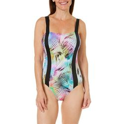 Reel Legends Womens Rainbow Palm One Piece Swimsuit