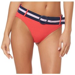 Jessica Simpson Womens Rainbow Rib Belted Swim Bottoms