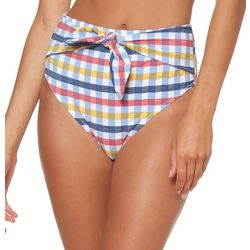 Jessica Simpson Womens Check It Out High Waist Swim Bottoms