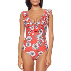 Jessica Simpson Womens Oopsy Daisy One Piece Swimsuit