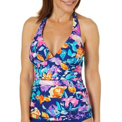 Into the Bleu Womens Summer Floral Print Halter Tankini Top