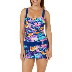 Into the Bleu Womens Summer Floral Print Swimdress