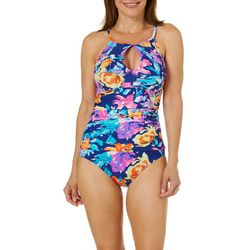 Into the Bleu Womens Summer Floral One Piece Swimsuit