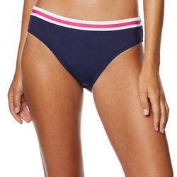 Nautica Womens Solid Stripe Waist Bikini Bottoms