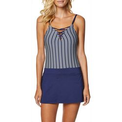 Nautica Womens Stripe Crisscross Neck Swimdress