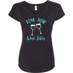 Anvil Womens Dink Now Wine Later Pickleball T-Shirt
